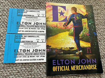 Elton John - 2x GOLD tickets Hanging Rock VIC Sat 25th Jan Sec G4 Row N