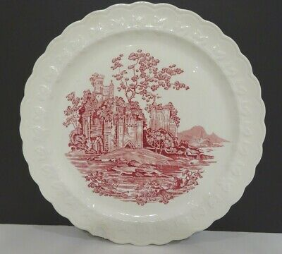 """Pink Castle 9 ¼"""" Luncheon Plate Taylor, Smith & Taylor As-Is 1938-E"""