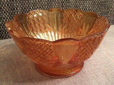 Marigold / Orange Sowerby Carnival Iridescent Glass Bowl Pineapple Bow Pattern