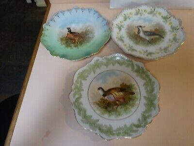Art Nouveau .CT SILESIA .Set of 3 Porcelain BIRD PLATES.Made in Germany