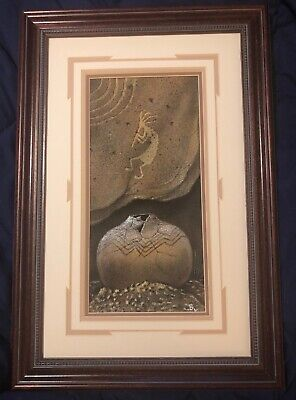 Framed Navajo Sand Painting Art Signed Bilson Kee American Indian Kokopelli
