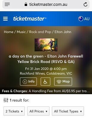 Elton John - 2 Reserved Seat Tickets - Fri 31 Jan - Priced To Sell