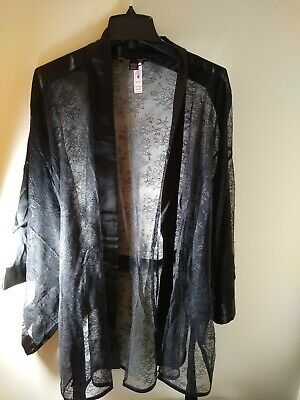 Victoria's Secret Black Lace Belted Kimono Robe New Medium/Large NEW