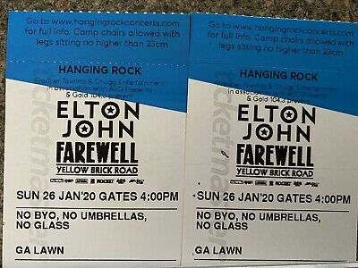 2 x Elton John Tickets - Yellow Brick Road Tour - Hanging Rock - 26th Jan 2020