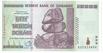 Zimbabwe 50 Trillion 2008 Banknote AA, Uncirculated, 100 Trillion series (Zm50t)