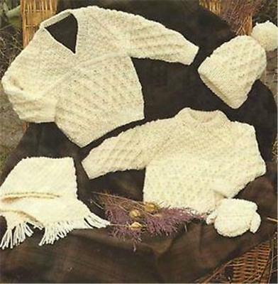 Vintage Knitting Pattern 2 Baby Childrens Aran Sweaters Scarf Mittens Hat 16-30'