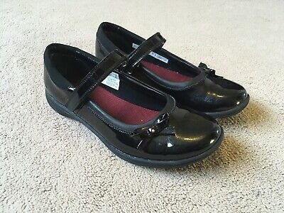 Clarks Venture Star Girls Black Patent School Shoes Junior Size 3.5H