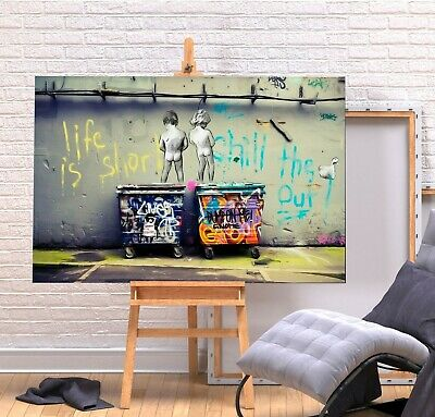 Banksy Life Is Short - Canvas/Framed Wall Art Picture Print - Green/Multi Colour