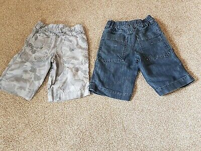 2 pairs of Boys Shorts, Grey Camo & Demin, Age 6, Next