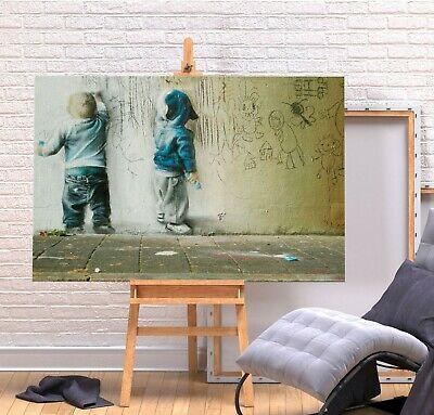Banksy Kids Painting - Deep Framed Canvas Wall Art Picture Print - Green/Multi
