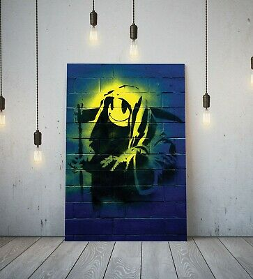 Banksy Grin Reaper - Deep Framed Canvas Wall Art Picture Print - Green/Multi
