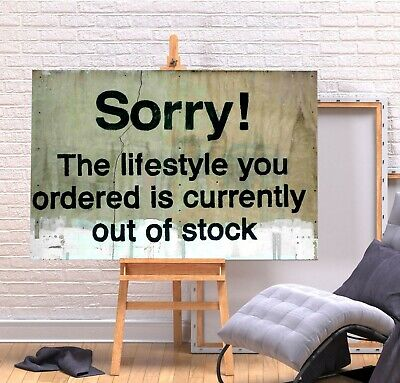 Banksy Sorry Lifestyle - Deep Framed Canvas Wall Art Picture Print - Green/Multi