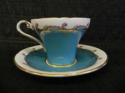 Antique Aynsley Bone China Porcelain Turquoise Teacup & Saucer Made in England