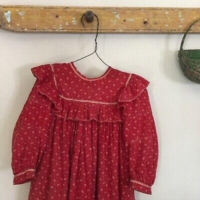Antique 19th Century Early Childs Red Calico Prairie Dress