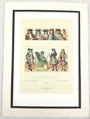 1888 Antique Print Louis XIV French Gentleman Costume Historical Fashion Hats