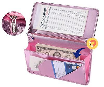Mymazn Pink Server Book for Waitress Book with Zipper Pocket Server Wallet with