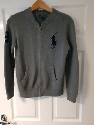 BOYS POLO RALPH LAUREN GREY  KNIT ZIP UP JUMPER CARDIGAN CASUAL 14-16 yrs 32 in