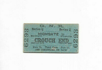 1909 GNR Great Northern Railway ticket - HIGHGATE to CROUCH END 6293