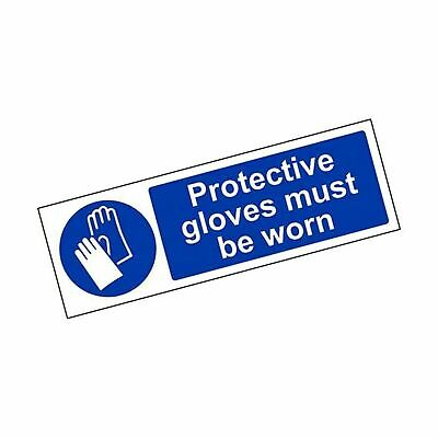 VSafety Protective Gloves Must Be Worn PPE Sign - Landscape - 300mm x 100mm -...