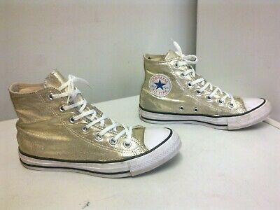 CONVERSE Gold  Canvas Lace up Hi Top  Sneaker Trainers  - size 5 UK
