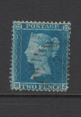"GB QV 2d Blue SG34 Plate 5 Two Pence ""BJ"" Queen Victoria 1855 Used Stamp"