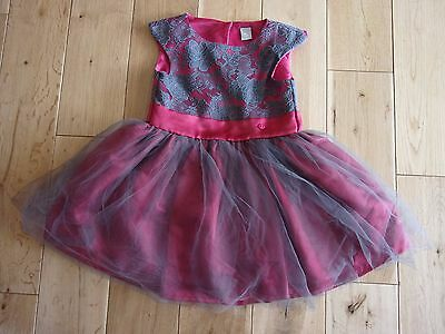 Pretty TU Girls Pink & Grey Party / Formal Dress age 3 yrs.