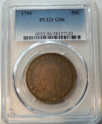 1795 2 Leaves Flowing Hair Half Dollar - PCGS Certified Good 6 !!