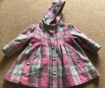 M&S 9–12 Months Girls Checked Pink Coat