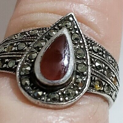 Vintage Sterling silver Ring Marcasite Sz 9 Red Stone