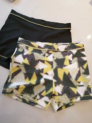 2 X Pairs Of Girls Work Out Dance Exercise  Shorts Age 9 Grey Patterned