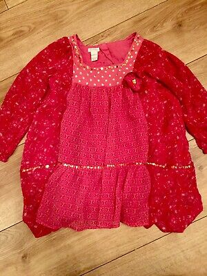 monsoon  Red Sequinned Girls Party Top Age 5-6