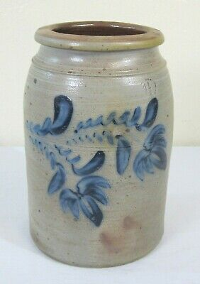 Antique American 1.5 Gallon Blue Decorated Stoneware Crock Large Flowers!