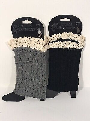 Bijorca 2 Pairs Knit Boot Cuff Short Leg Warmers 1 Black & 1 Gray w/ Lace Top