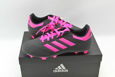 Adidas Goletto VI Black Pink Soccer Cleats Girls 5 Pink Stripes Pink Laces