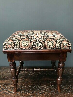 Mahogany Victorian piano or footstool, adjustable height, new velvet fabric
