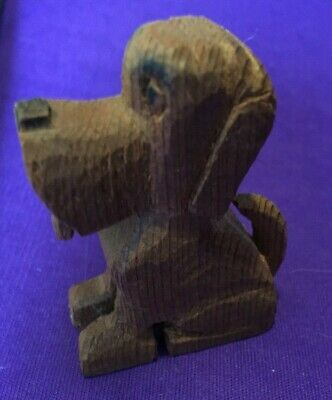 "Hand Carved wooden dog figure  2 1/2"" puppy wood"