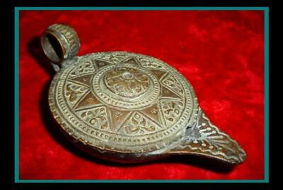 ANTIQUE ROMAN POMPEII / GREEK Bronze & Copper OIL LAMP with 8 Point Star Pattern