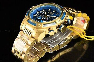 Invicta Mens 48mm Multifunction 18K Gold Plated Blue Dial Chrono Bracelet Watch