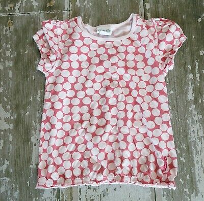 NAARTJIE DANDY SPOT Elastic hem Polka Dot Knit Short Sleeve Shirt top Pink 7