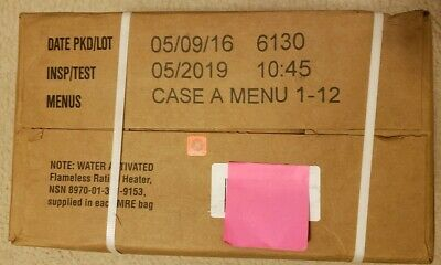 Genuine US Military MRE (Meals Ready-To-Eat) Case A (1-12) Inspection Date 2019