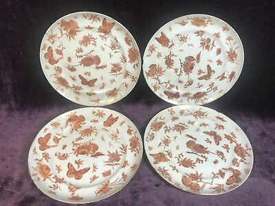 4 Antique 19C Chinese export sacred bird butterfly porcelain plate