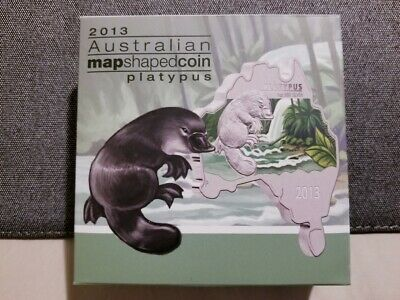 2013 Perth Mint Platypus 1 oz Silver Australia Map Shaped Coin