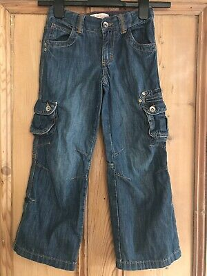 M&S Indigo Collection Cargo Style Denim Blue Jeans Age 7 Years
