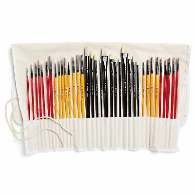 Art Paint Brushes With Nylon Wrapping Case pack of 36 Watercolor Paintbrushes