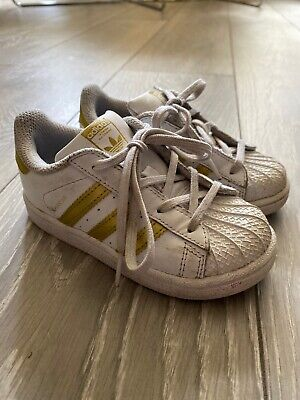 Adidas White/Gold Superstar Trainers Infant Size 8