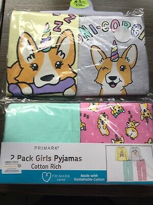 BNIP Primark 2 Pack Girls Cotton Pyjamas PJs Dog Unicorn Uni-Corgi 4-5 Years