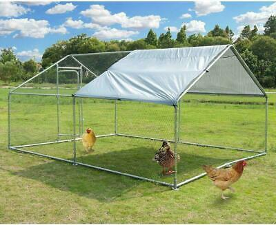 Large Metal Chicken Coop Walk-in Poultry Cage Hen Run House Rabbits Habitat Cag