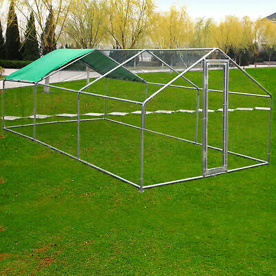 20x10ft Large Metal Chicken Coop Walk-in Runs Backyard Hen house Farm Ranch