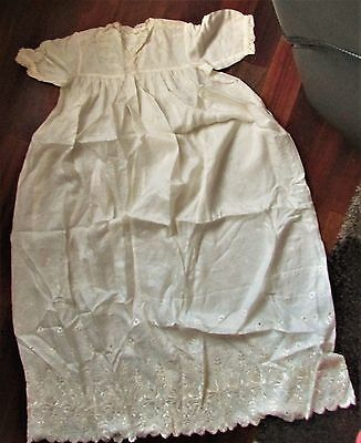 Vintage BABY CHRISTENING GOWN Scarf SILK/LACE broderie anglaise (looks unused)