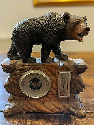 "Beautiful Large Antique Vintage Black Forest Swiss Bear 12"" tall Barometer"